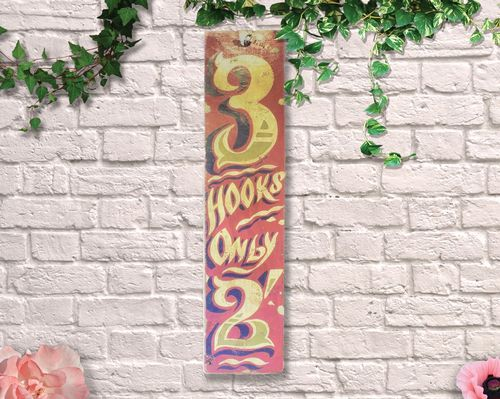 Painted 3 Hooks Only Circus Sign